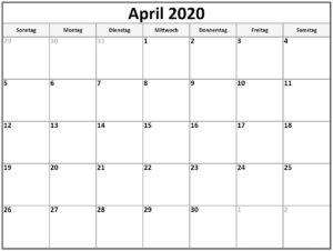 Kalenderblatt April 2020 Kalender