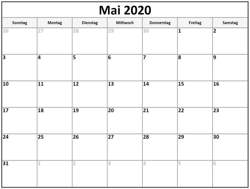 Mai 2020 Kalender