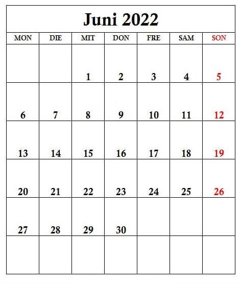 2022 Juni Kalender