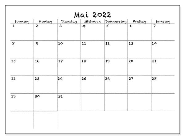 2022 Mai Kalender Mit Notizen