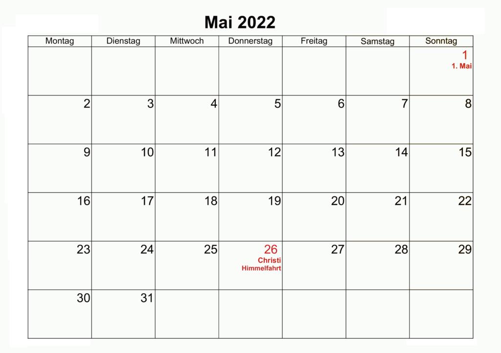 2022 Mai Leerer Kalender