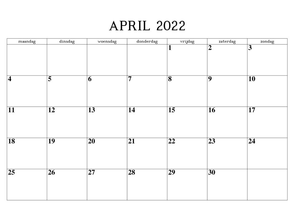 April 2022 Druckbarer Kalender