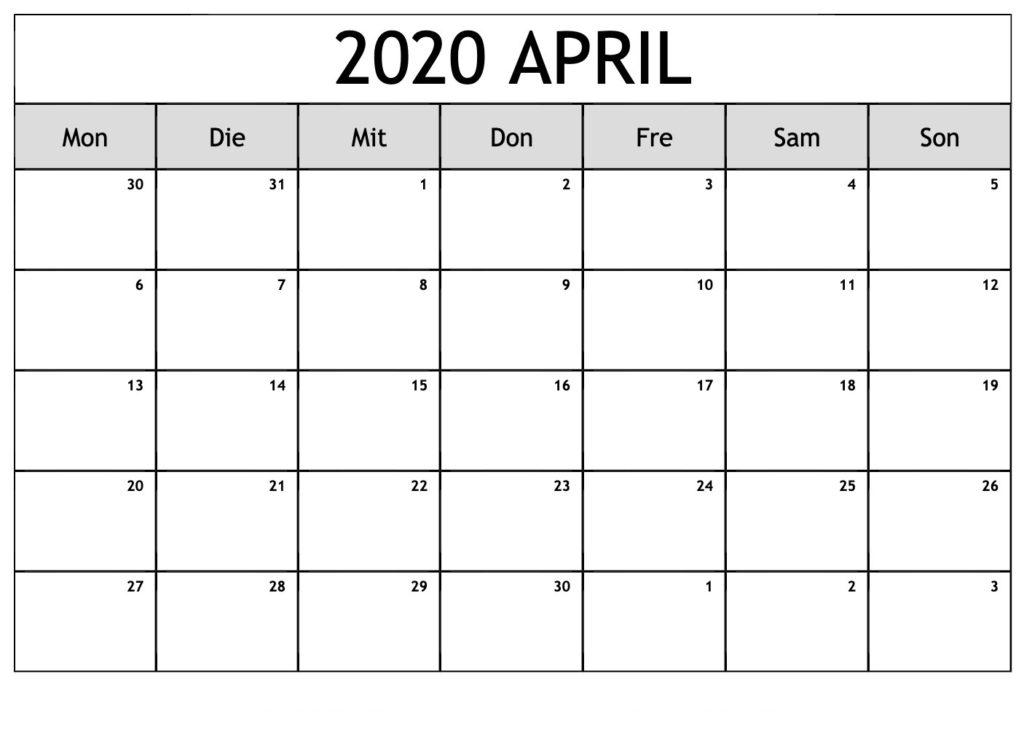 Kalender April 2020