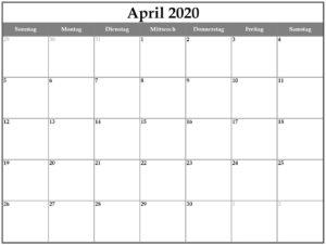 Kalender 2020 April Zum Ausdrucken