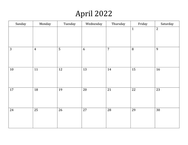 Druckbare leere April 2022 Kalender
