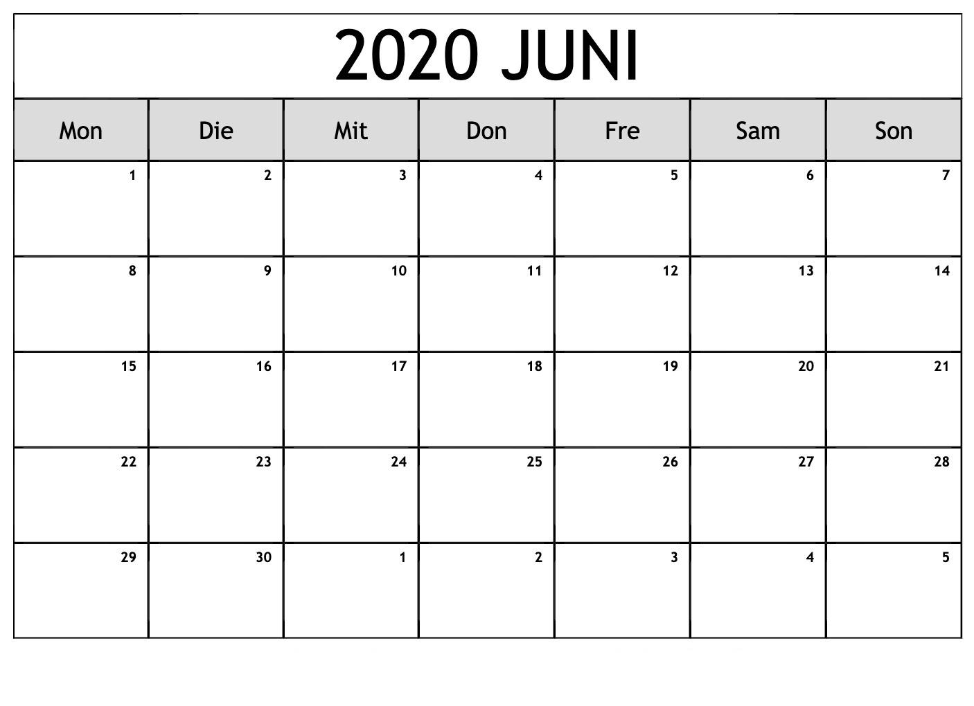 Frei Kalender Juni 2020 Ausdrucken