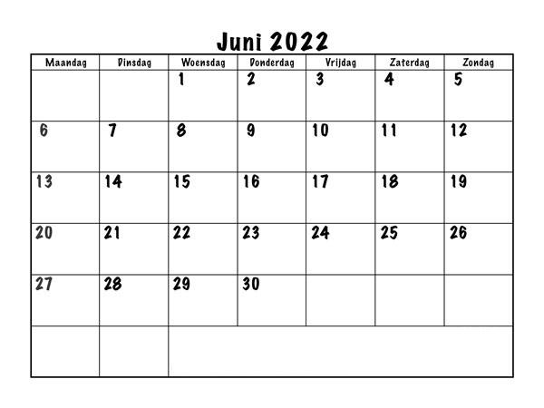 Frei Kalender Juni 2022 Ausdrucken