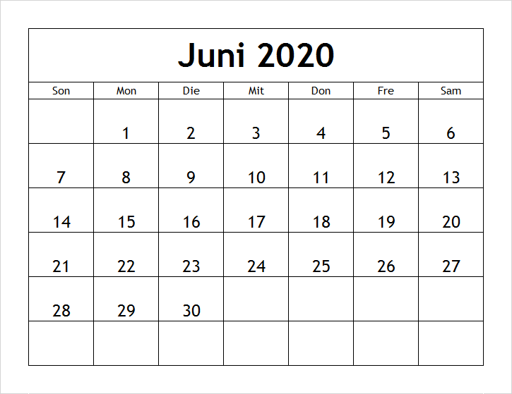 2020 Juni Kalender