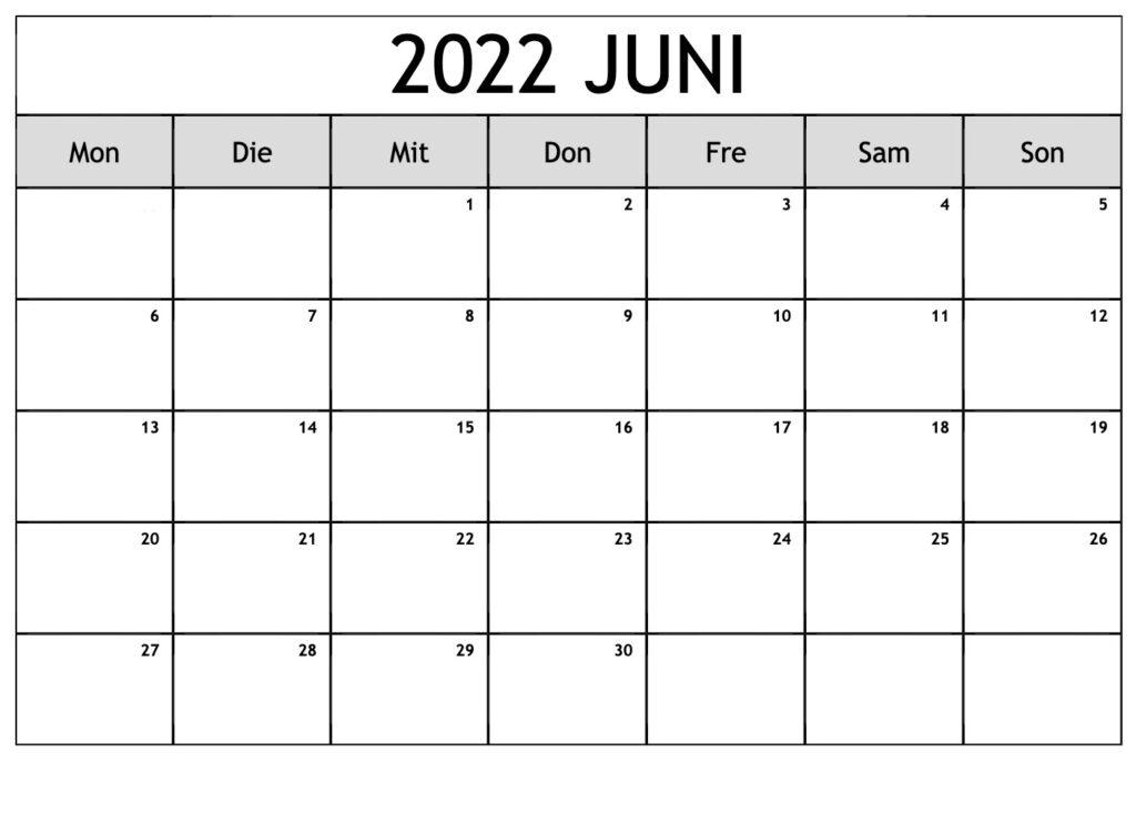 Kalender 2022 Juni Zum Ausdrucken