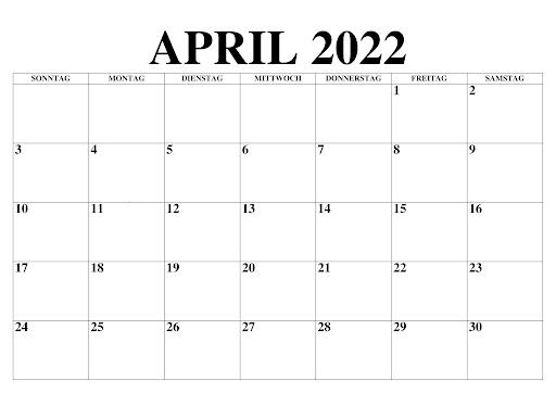 Kalender April 2022