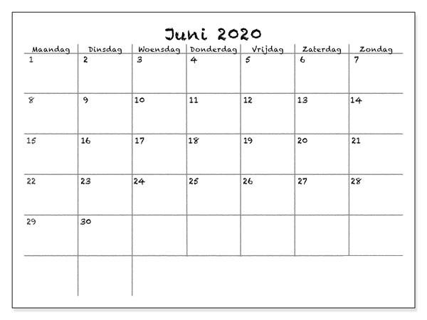Kalender Juni 2020 Ausdrucken