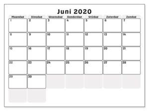 Kalender Juni 2020 Drucken
