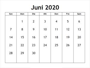 Kalender Juni 2020 Vorlage