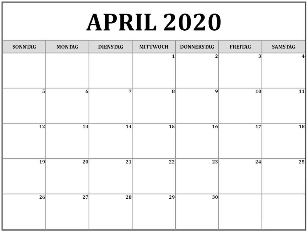 April 2020 Druckbarer Kalender