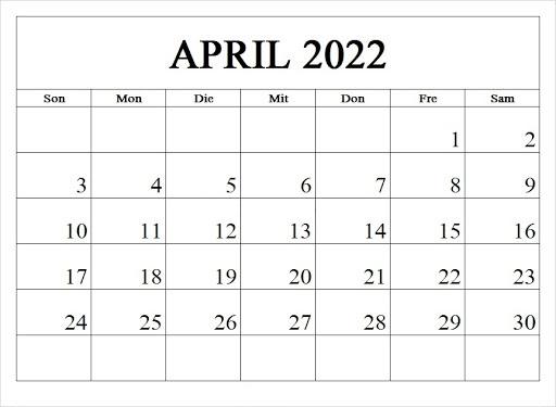 Kalenderblatt April 2022 Kalender