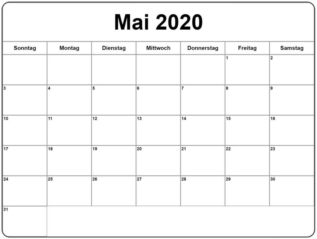 2020 Mai Leerer Kalender