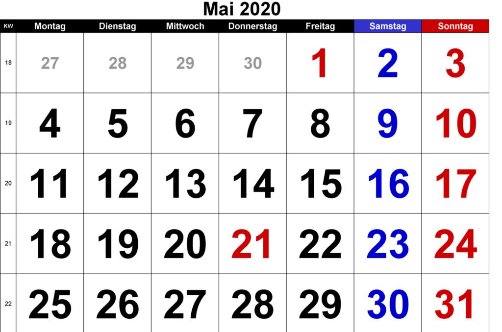 Mai 2020 Druckbarer Kalender