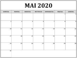 2020 Mai Kalender Mit Notizen