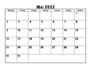 Mai 2022 Feiertags Kalender