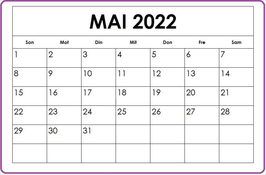 Mai 2022 Kalender