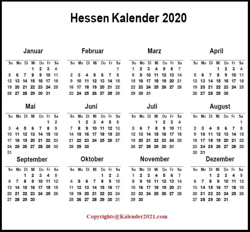 2020 Kalender Hessen Zum Ausdrucken