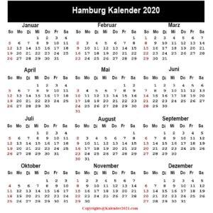 2020 Kalender Hamburg Zum Ausdrucken