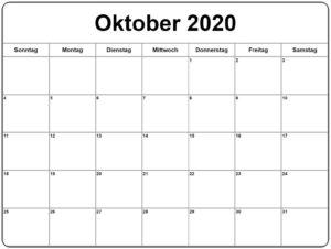 2020 Oktober Kalender