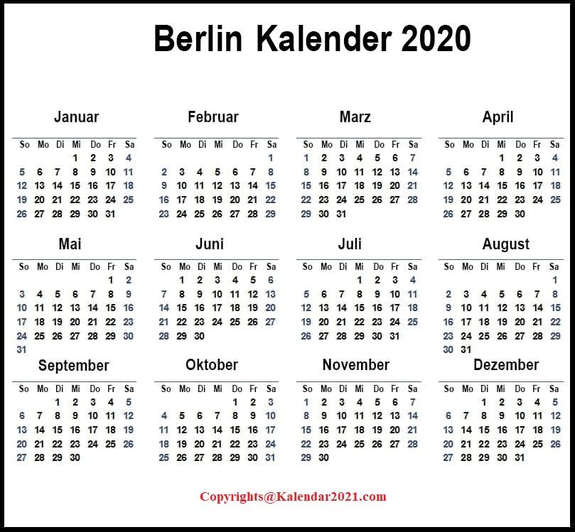 2020 Sommerferien Berlin Kalender Excel Word