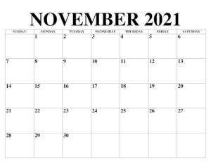 2021 November Kalender