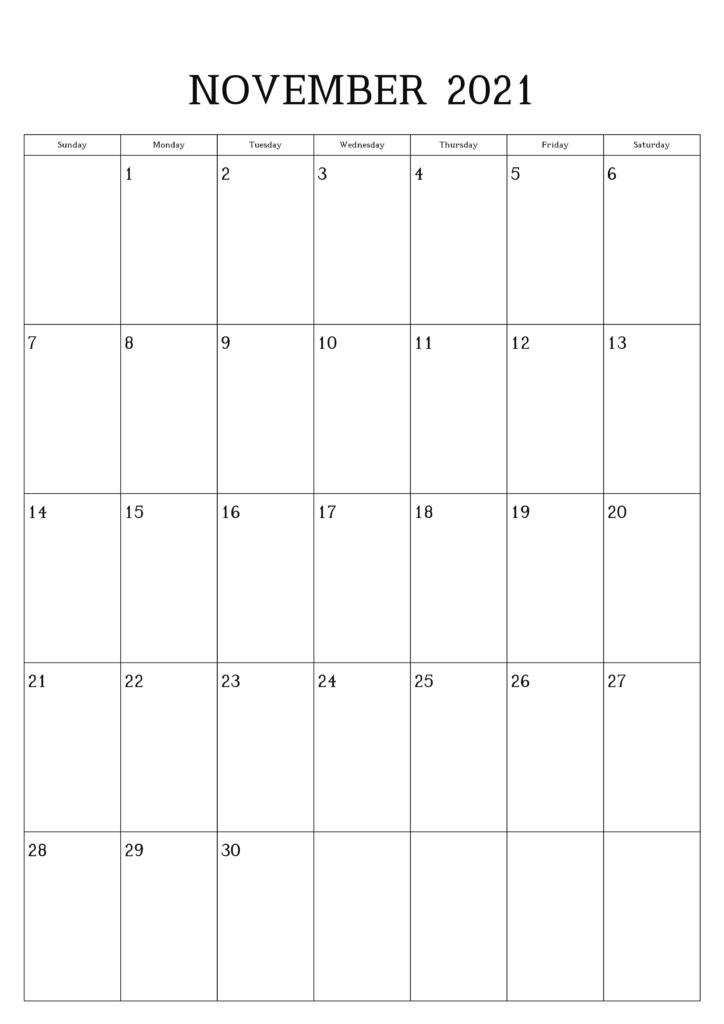 Monats Kalender November 2021