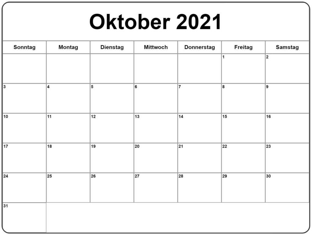 2021 Oktober Kalender