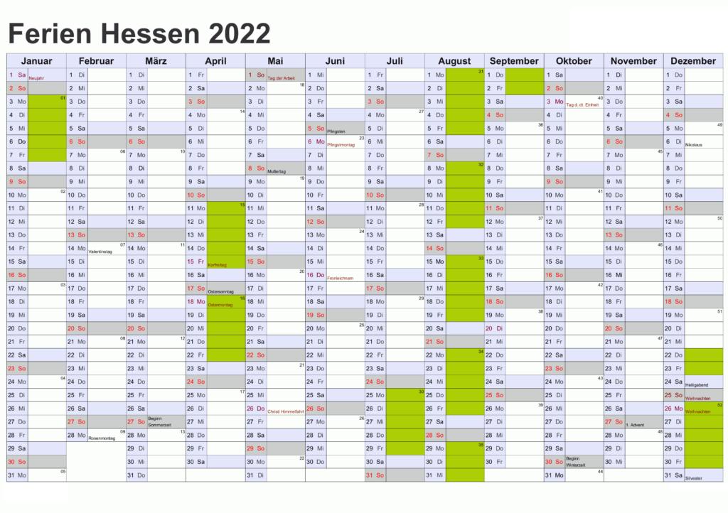 2022 Sommerferien Hessen PDF