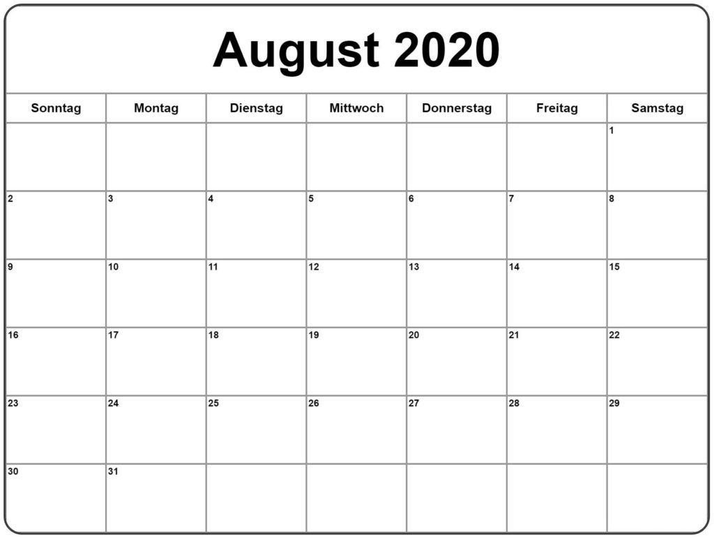 2020 August Kalender