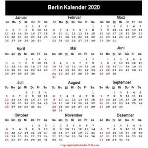 Berlin 2020 Kalender Zum Ausdrucken