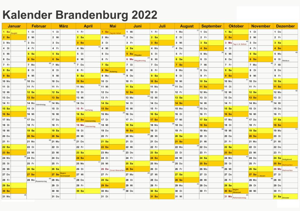 Brandenburg 2022 Kalender Zum Ausdrucken