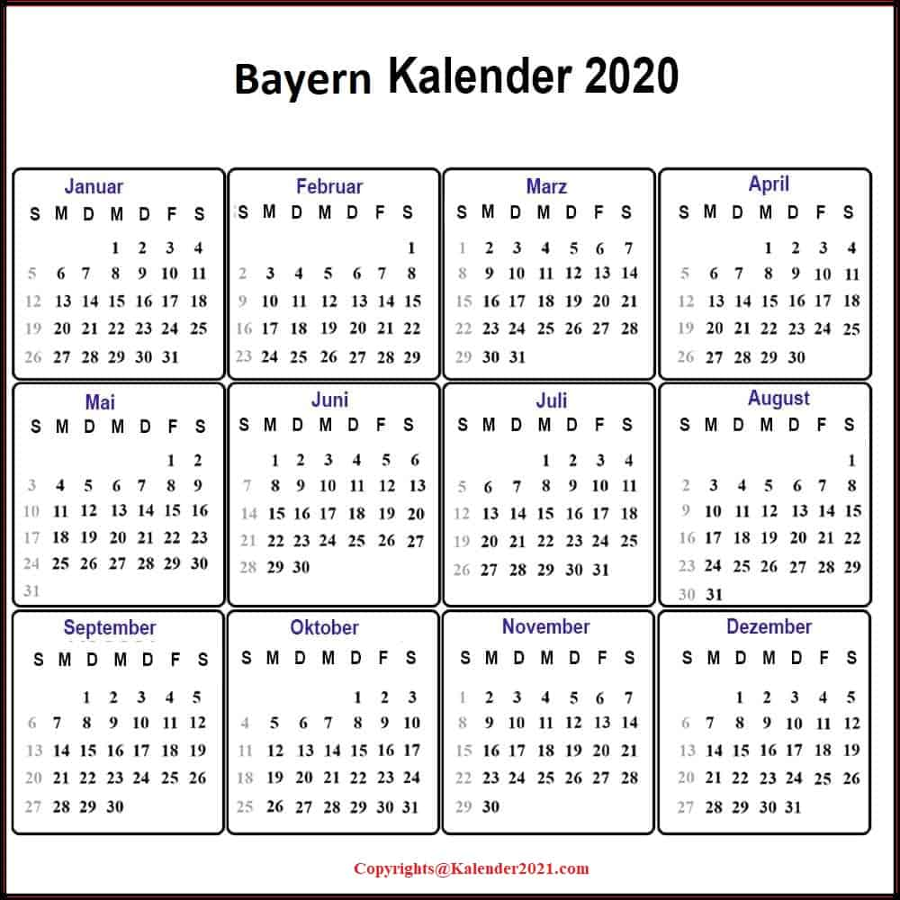 Feiertagen 2020 Bayern Kalender