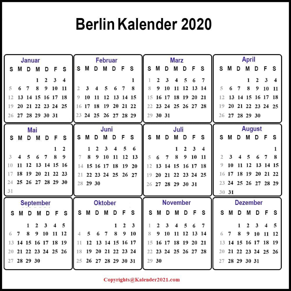 Feiertagen 2020 Berlin Kalender