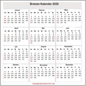 Feiertagen 2020 Bremen Kalender