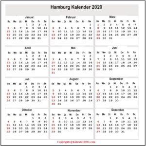 Feiertagen 2020 Hamburg Kalender