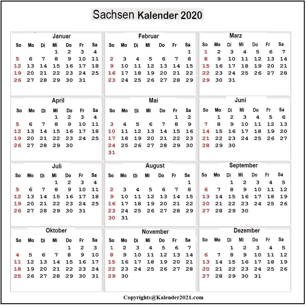 Feiertagen 2020 Sachsen Kalender