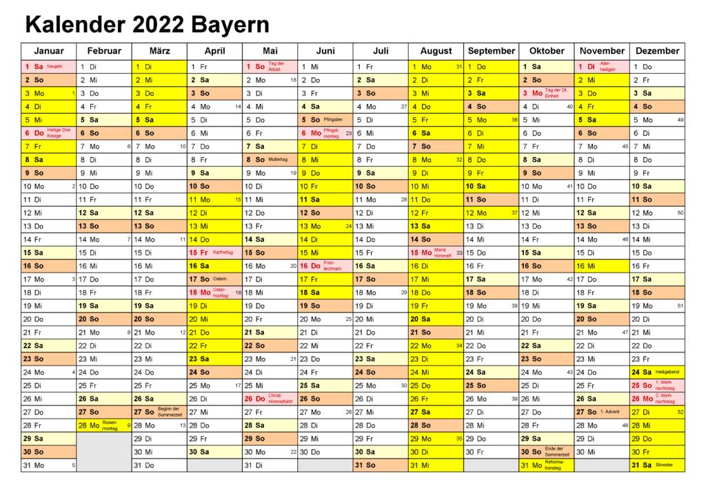 Feiertagen 2022 Bayern Kalender