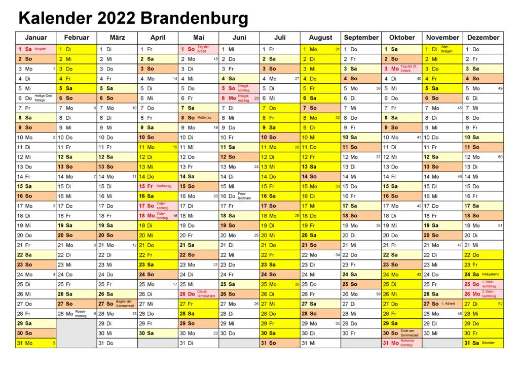 Feiertagen 2022 Brandenburg Kalender