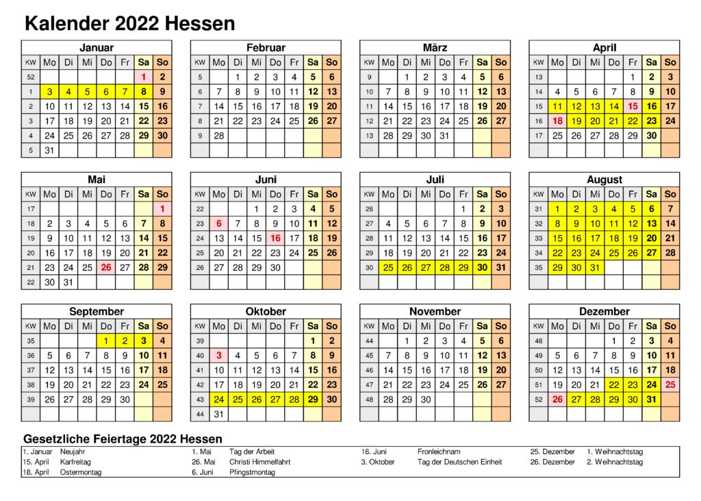 Feiertagen 2022 Hessen Kalender