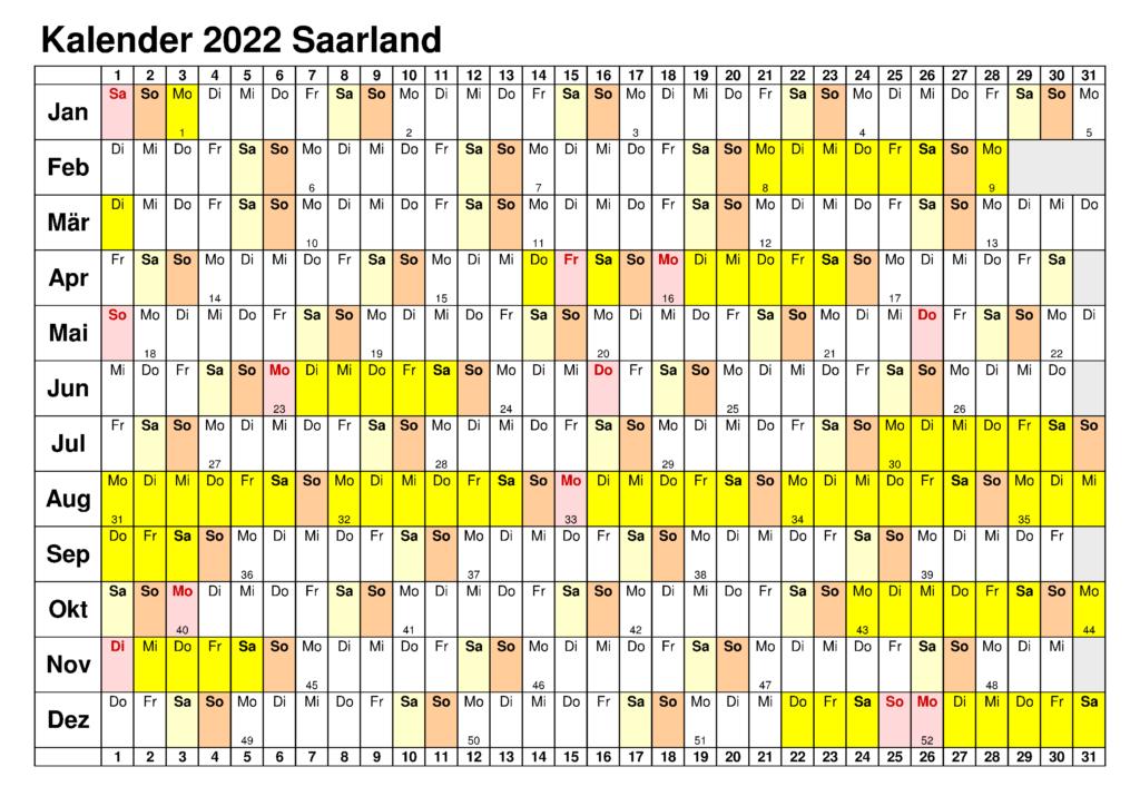 Feiertagen 2022 Saarland Kalender