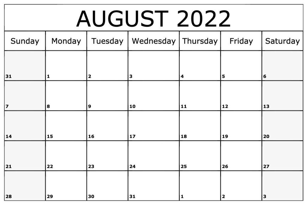 Frei Kalender August 2022 Ausdrucken