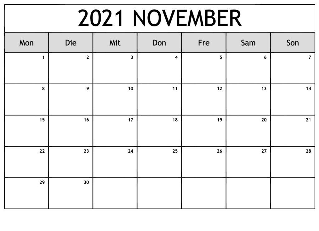 November 2021 Kalender Vorlage