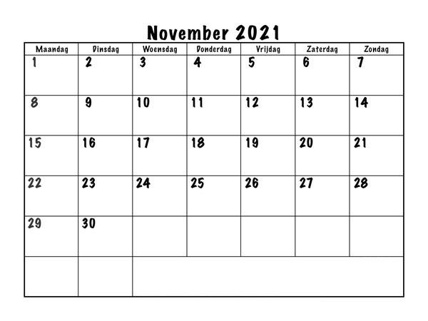 Frei Kalender November 2021 Ausdrucken