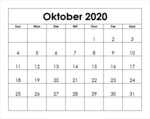 Frei Kalender Oktober 2020 Ausdrucken