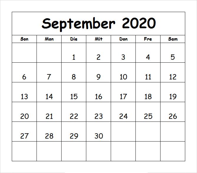 Frei Kalender September 2020 Ausdrucken