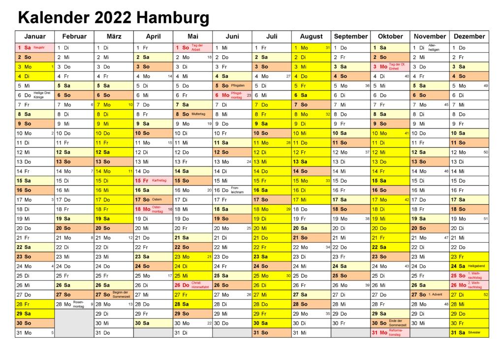 Hamburg 2022 Kalender Zum Ausdrucken